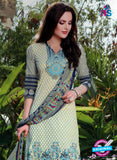 SC 12964 Beige and Blue Printed Pure Cotton Salwar Suit Online