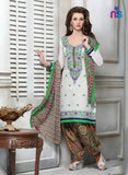 NS11318 White and Multicolor Cotton Jacquard Patiyala Suit