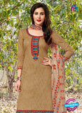 Kalakirti 04 A Brown, Red and Multicolor Embroidered Cotton Patiala Suit