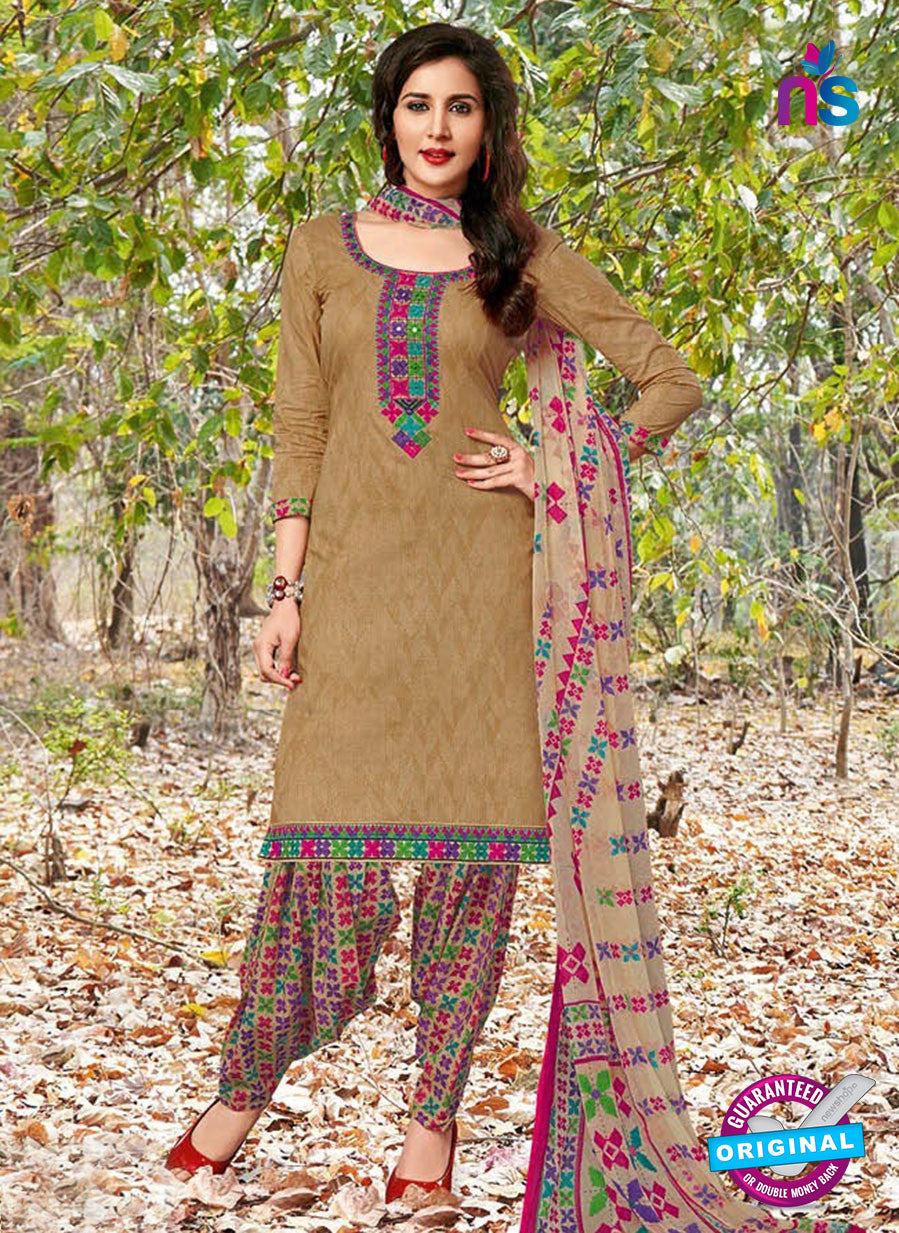 Kalakirti 04 B Brown, Pink and Multicolor Embroidered Cotton Patiala Suit