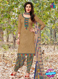 Kalakirti 04 C Brown, Green and Multicolor Embroidered Cotton Patiala Suit