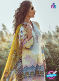 NS 12360 White and Yellow Printed Lawn Cotton With Embroidery Party Wear Suit