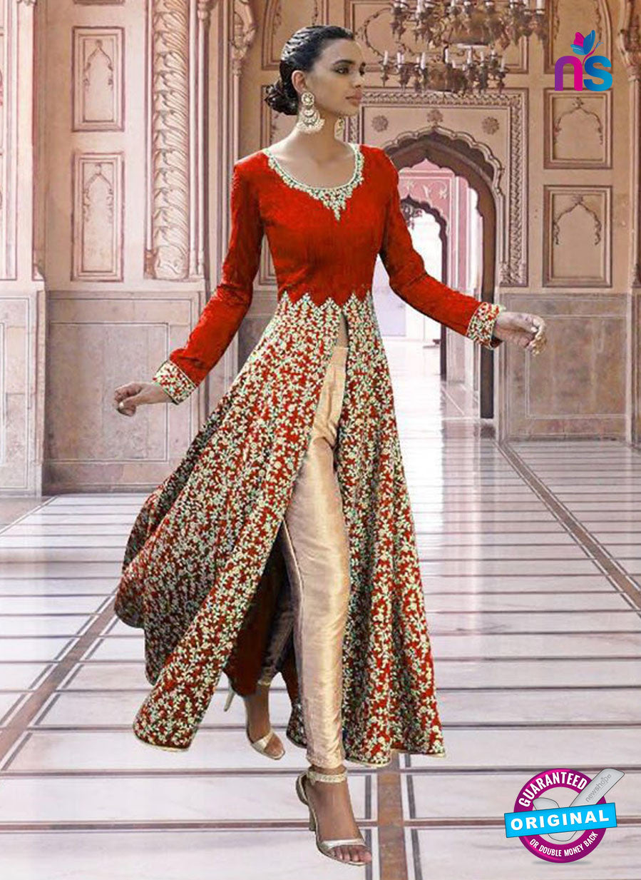 SC 13355 Red and Golden Exclusive Designer Party Wear Designer Suit
