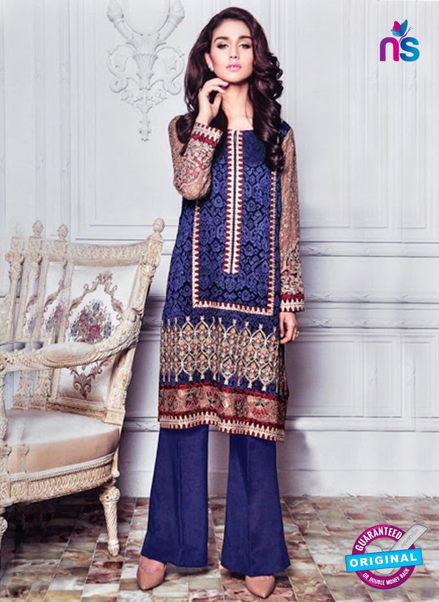 SC 12973 Blue and Brown Party Wear Georgette Pakistani Suit