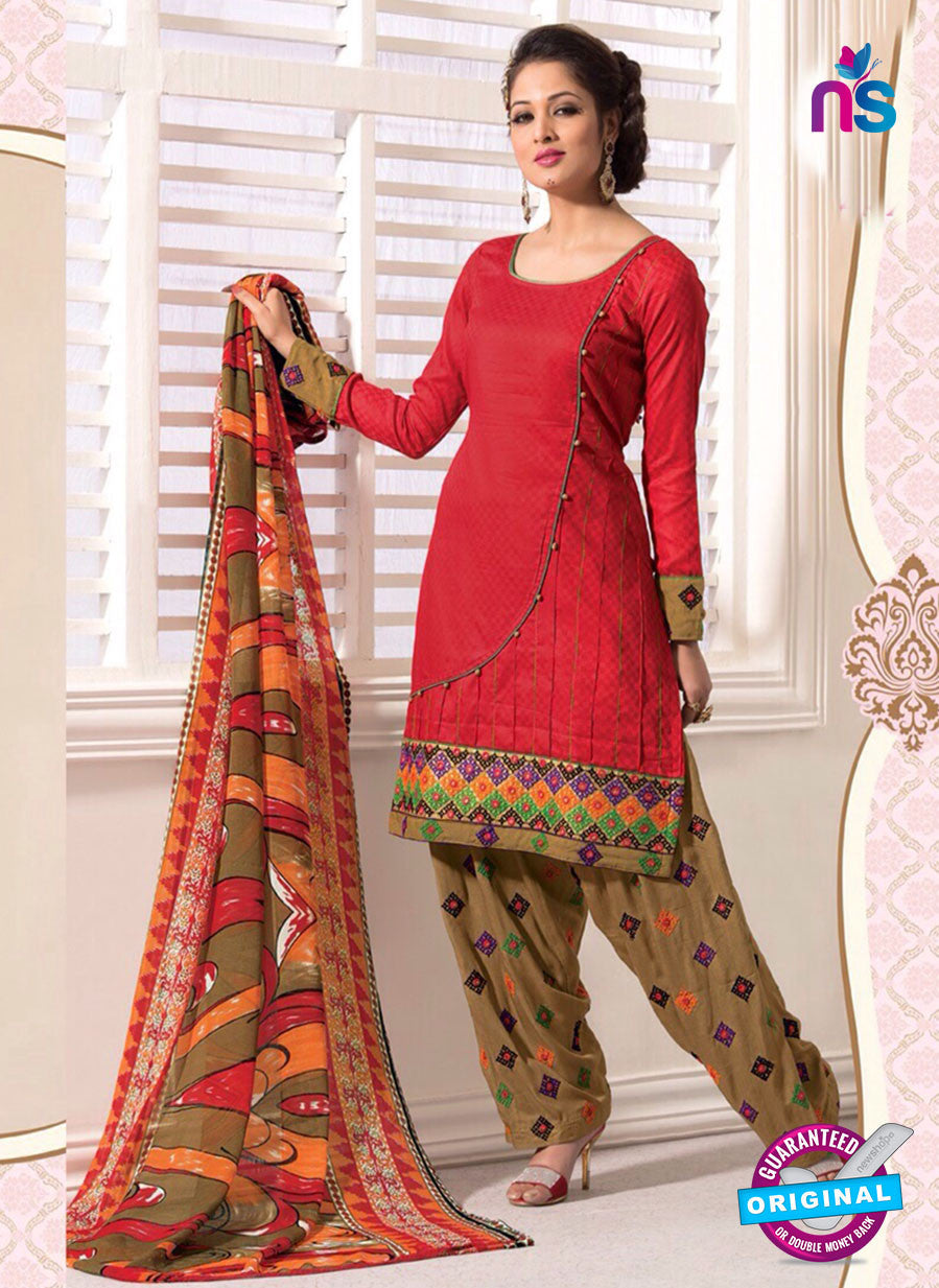 NS11104 Crimson and Brown Satin Jacquard Patiala Suit