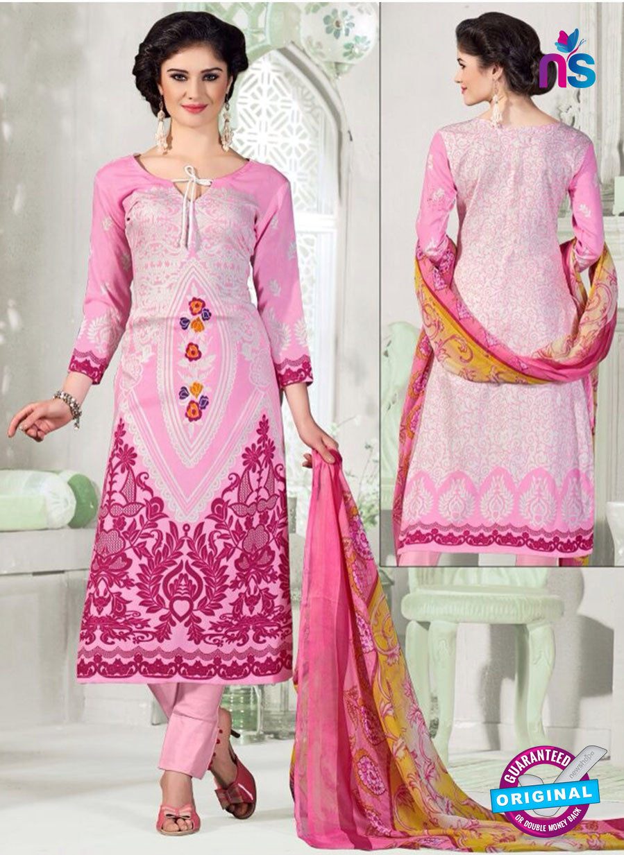 NS11052 Pink and White Satin Cotton Designer Straight Salwar Suit