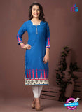 SC 13348 Blue and Pink Printed Handloom Cotton Kurti