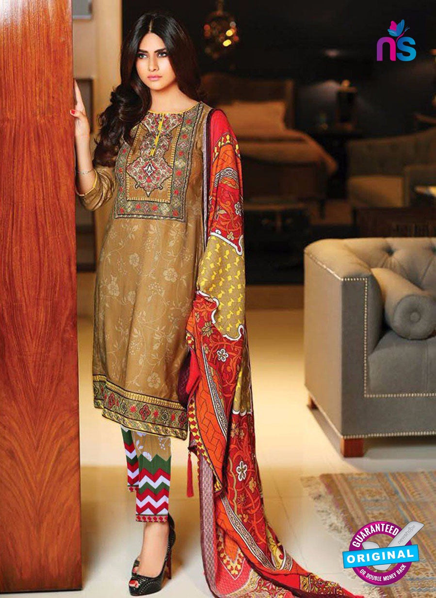 SC 13634 Brown and Multicolor Embroidered Lawn Pakistani Suit