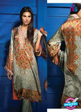 SC 13114 Green and Orange Satin Silk Party Wear Kurti