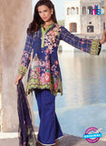 SC 12368 Blue and Multicolor Embroidered Patch Pure Lawn Cotton Suit