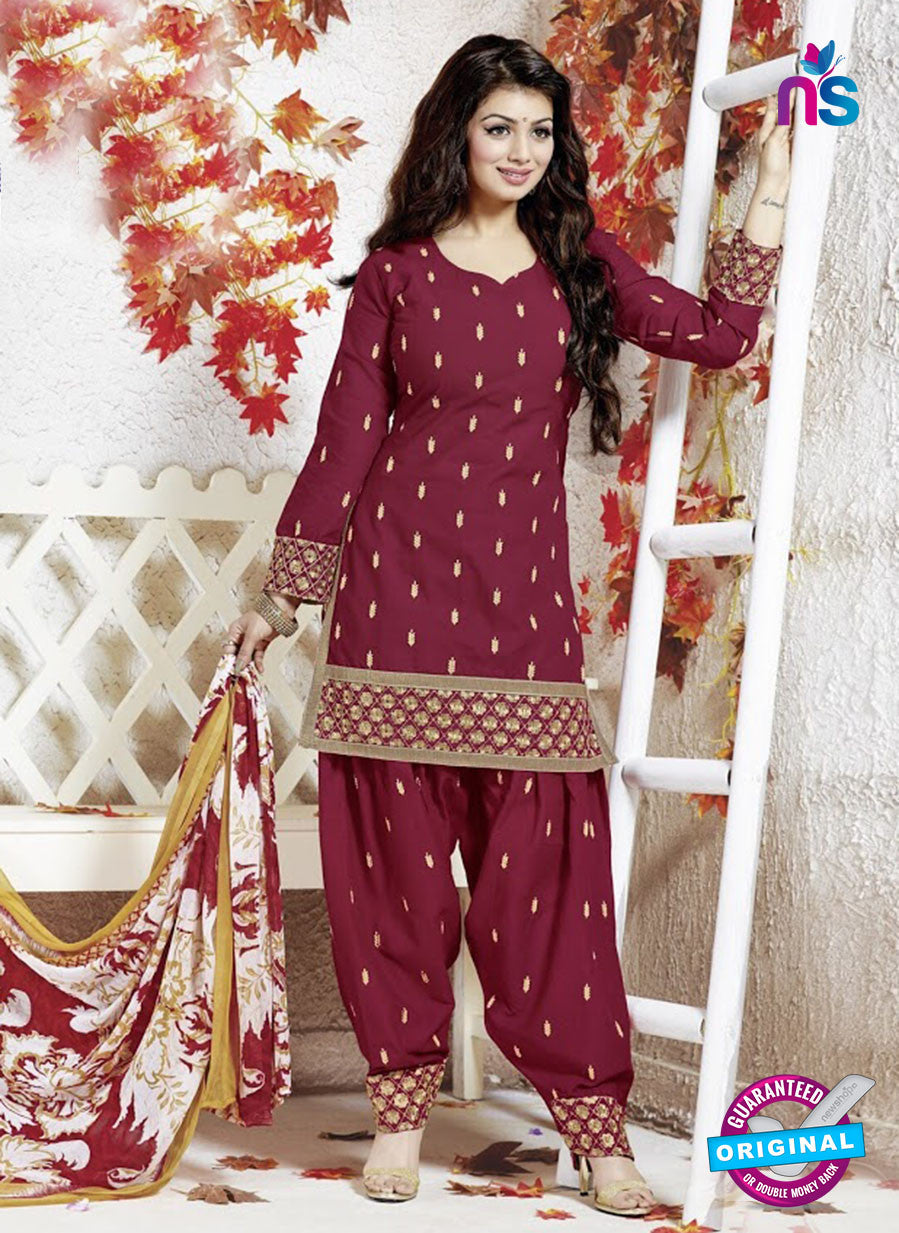 SC 13142 Maroon and Brown Cotton Patiyala Suit