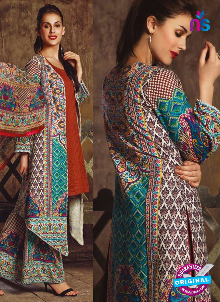 NS 12381 Multicolor and SeaGreen Printed Pure Lawn Suit