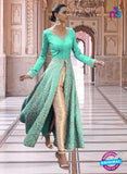 SC 13352 Sea Green and Golden Exclusive Designer Party Wear Designer Suit