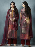 Sahiba 05 Maroon Color Cotton Satin Designer Suit