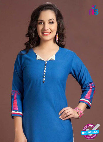 SC 13348 Blue Printed Handloom Cotton Kurti Online