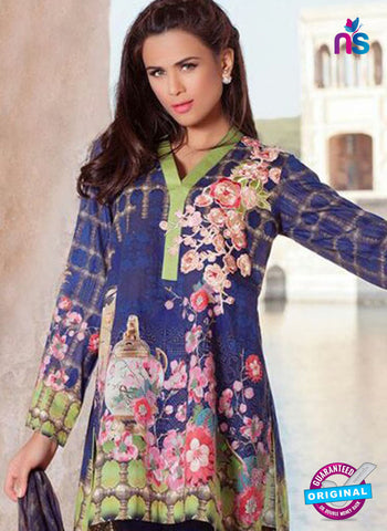SC 12368 Blue and Multicolor Embroidered Patch Pure Lawn Cotton Suit Online