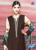 NS 12423 Brown and Beige Cotton Satin Jacquard Party Wear Straight Suit Online