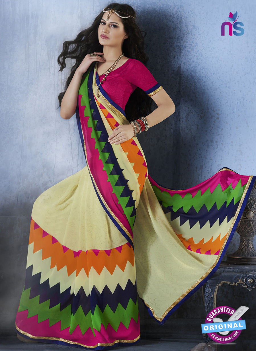 NS10549 Yellow and Multicolour Georgette Casual Saree