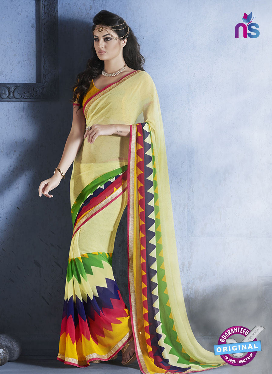 NS10550 Multicolour and Yellow Georgette Casual Saree