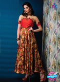 AZ 33715 Red And Multicolor Silk and Net Fancy Designer Gawn