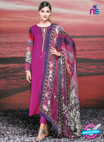 NS 12422 Magenta Cotton Satin Jacquard Party Wear Straight Suit