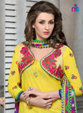 NS11319 Yellow and Multicolor Cotton Jacquard Patiyala Suit