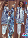 NS 12361 06 White and Blue Printed Lawn Cotton Party Wear Suit