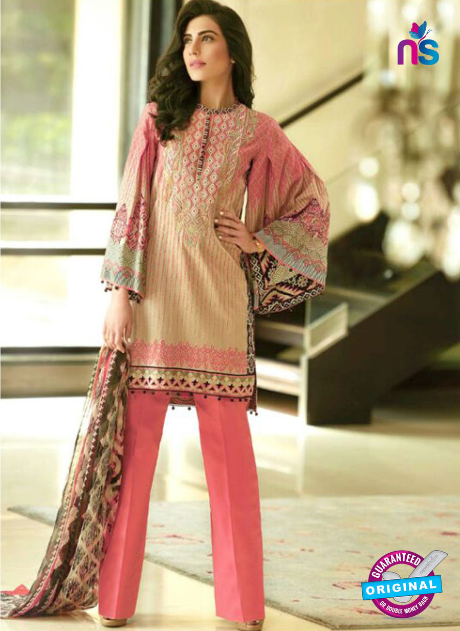 SC 12685 Beige and Peach Printed Lawn Suit