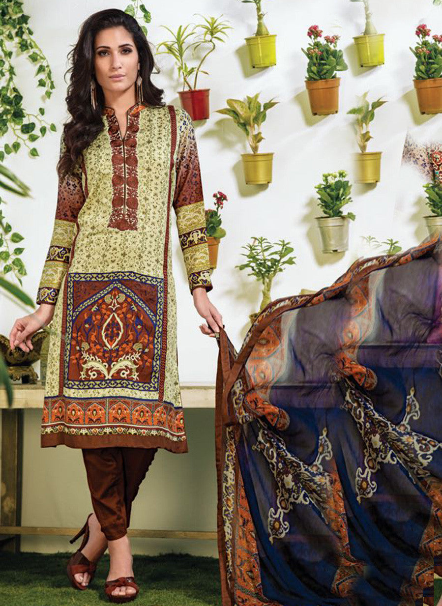 NS10904 Brown Color Satin Cotton Designer Suit