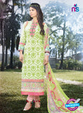 SC 12631 White and Green Heavy Embroidered Lawn Cotton Pakistani Suit