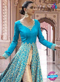 SC 13353 Sky Blue and Golden Exclusive Designer Party Wear Designer Suit Online