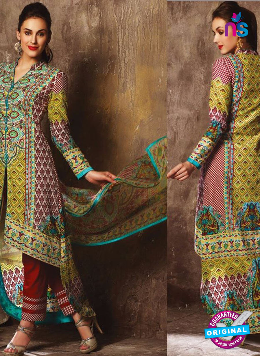 NS 12383 Green and Maroon Printed Pure Lawn Suit
