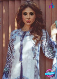 NS 12361 White and Blue Printed Lawn Cotton Party Wear Suit