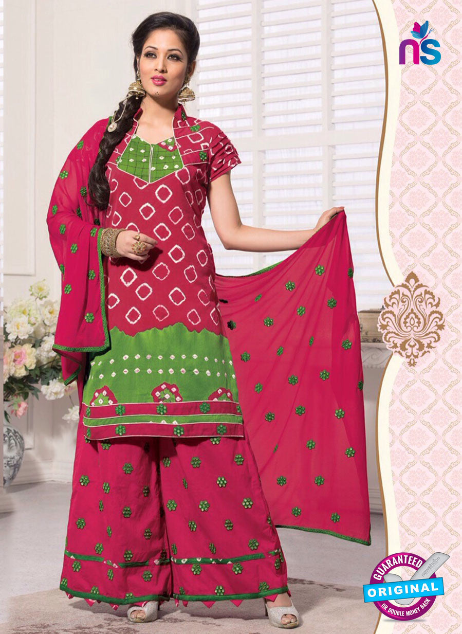 NS11106 Pink and Green Satin Bandhej Patiala Suit
