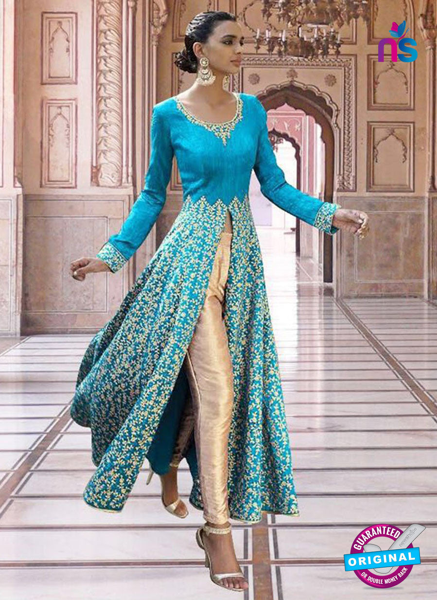 SC 13353 Sky Blue and Golden Exclusive Designer Party Wear Designer Suit