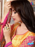 SC 13741 Orange and Magenta Cotton Designer Fancy Exclusive Printed Long Straight Salwar Suit Online