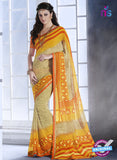 NS10551 Orange, Yellow and Beige Georgette Casual Saree