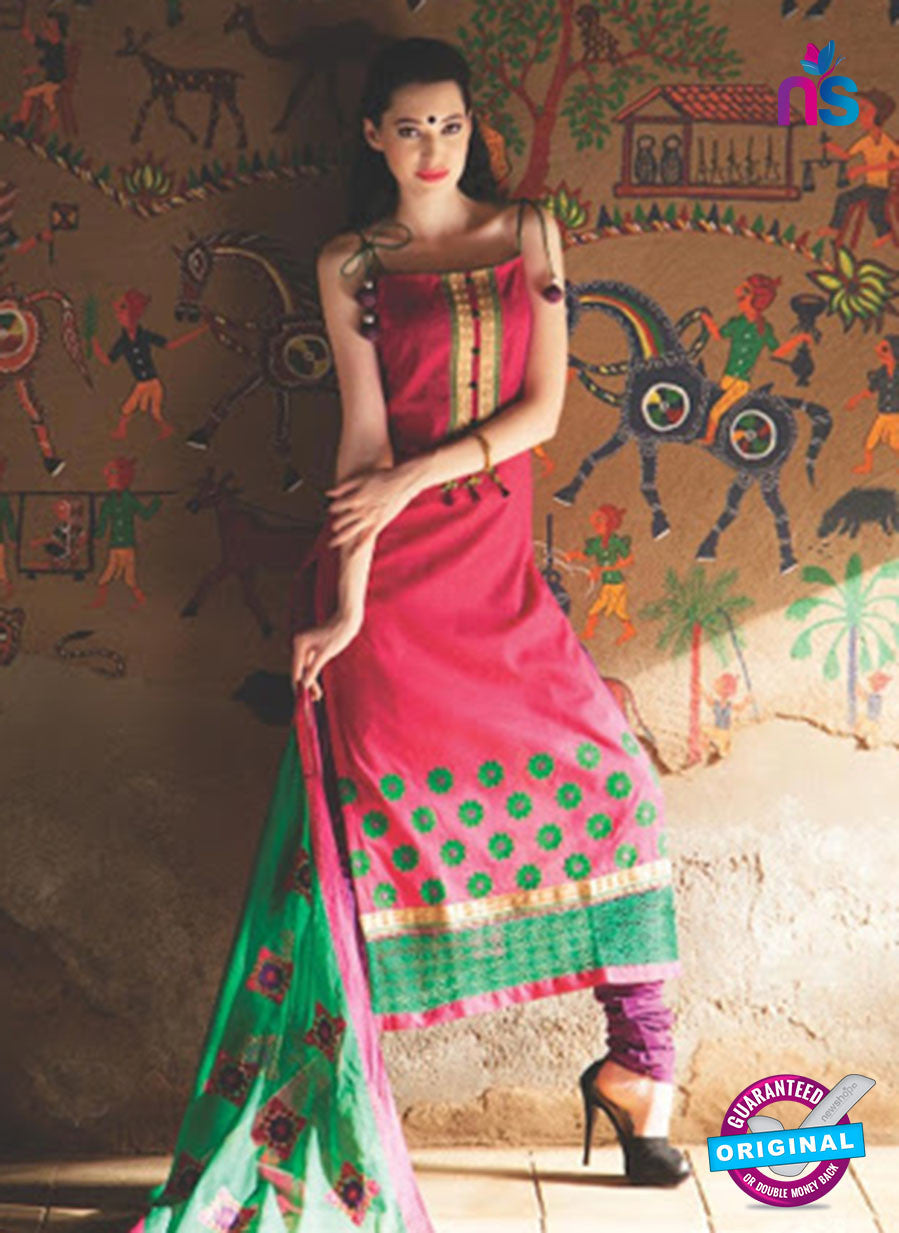 NS10088 A Pink and Green Jacquard Cotton Straight Suit