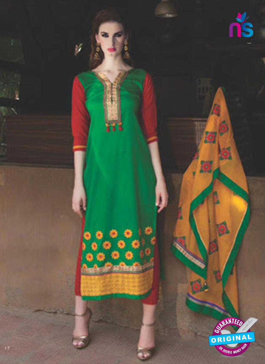 NS10090 C Green and Red Jacquard Cotton Straight Suit