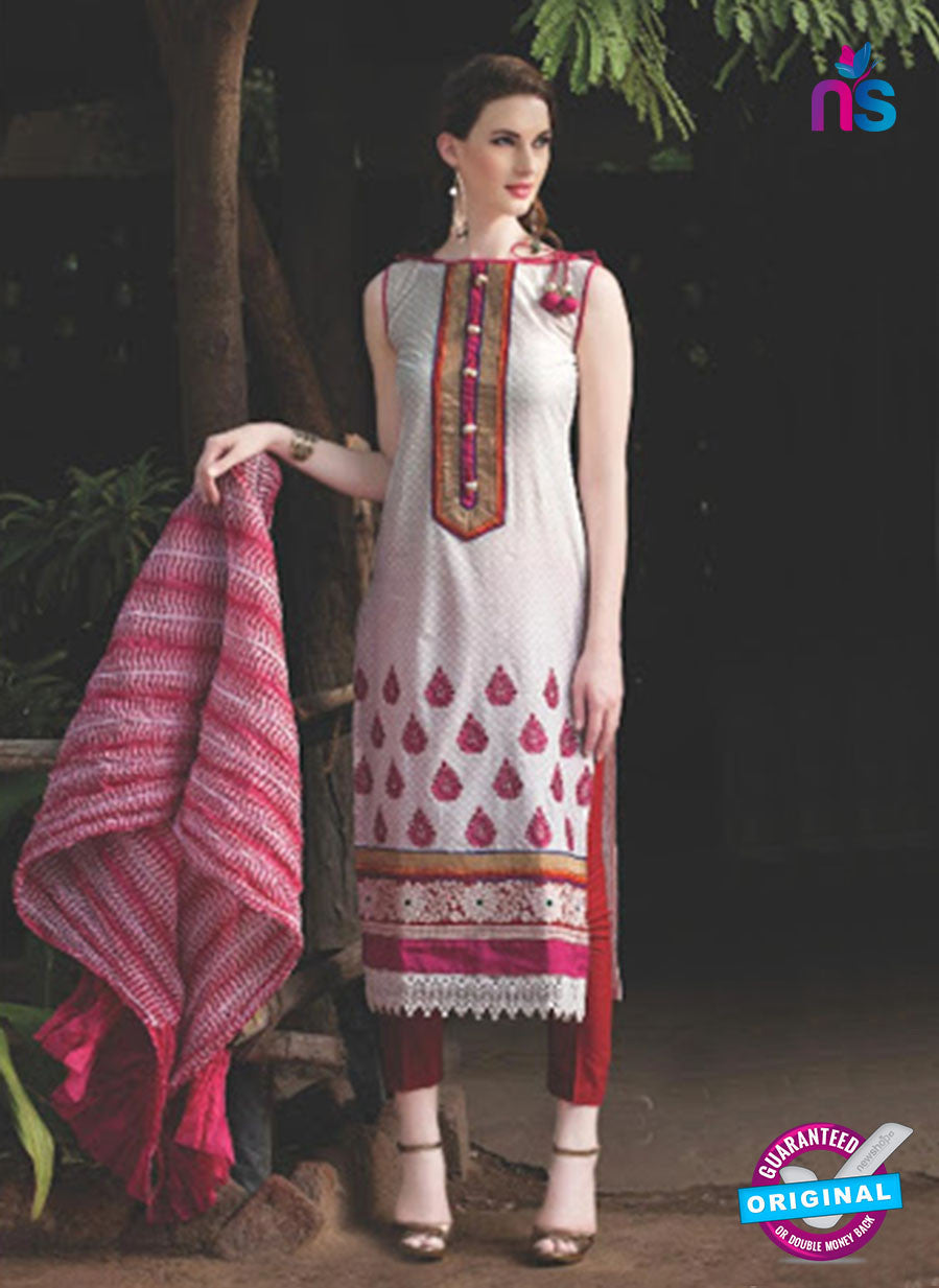 NS10091 A White and Pink Jacquard Cotton Straight Suit