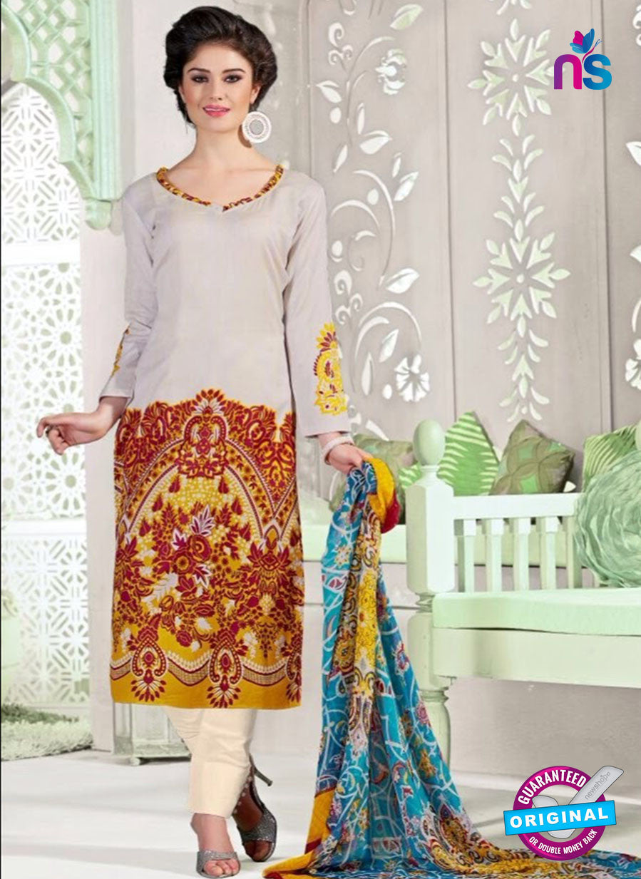 NS11054 Off White Brown and Yellow Satin Cotton Designer Straight Salwar Suit