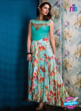 AZ 33716 Sky Blue Silk and Net Fancy Designer Gawn