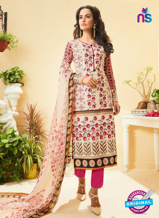SC 13518 Beige and Pink Designer Fancy Cambric Suit