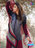 NS 12362 07 Black and Red Printed Lawn Cotton With Embroidery Party Wear Suit