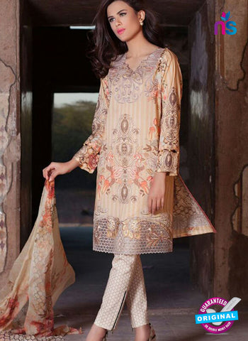 SC 12374 Brown and Multicolor Embroidered Patch Pure Lawn Cotton Suit