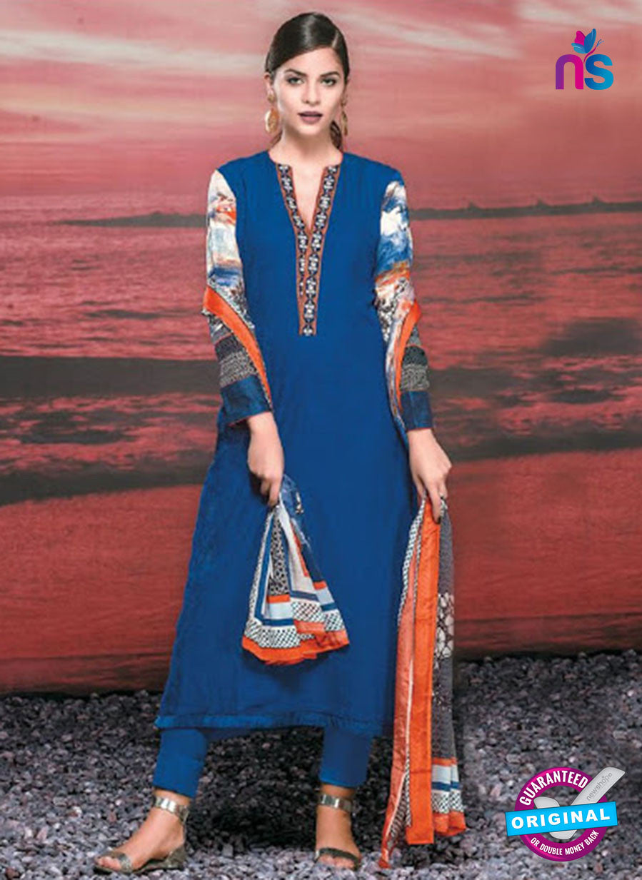 NS 12419 Blue and Multicolor Cotton Satin Jacquard Party Wear Straight Suit