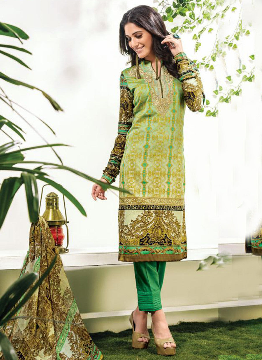 NS10903 Green Color Satin Cotton Designer Suit