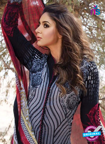 NS 12362 07 Black and Red Printed Lawn Cotton With Embroidery Party Wear Suit Online