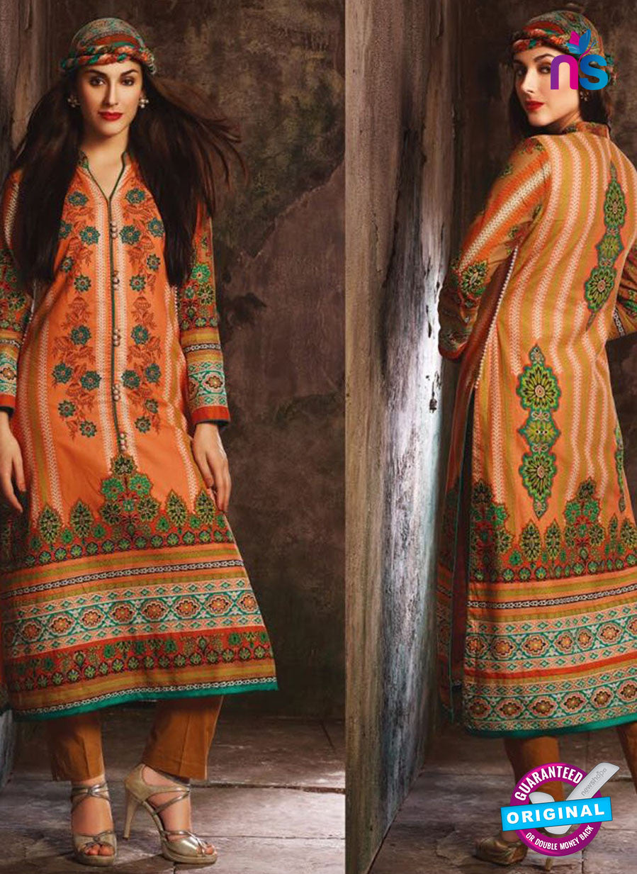 NS 12387 Orange and Green Printed Pure Lawn Suit