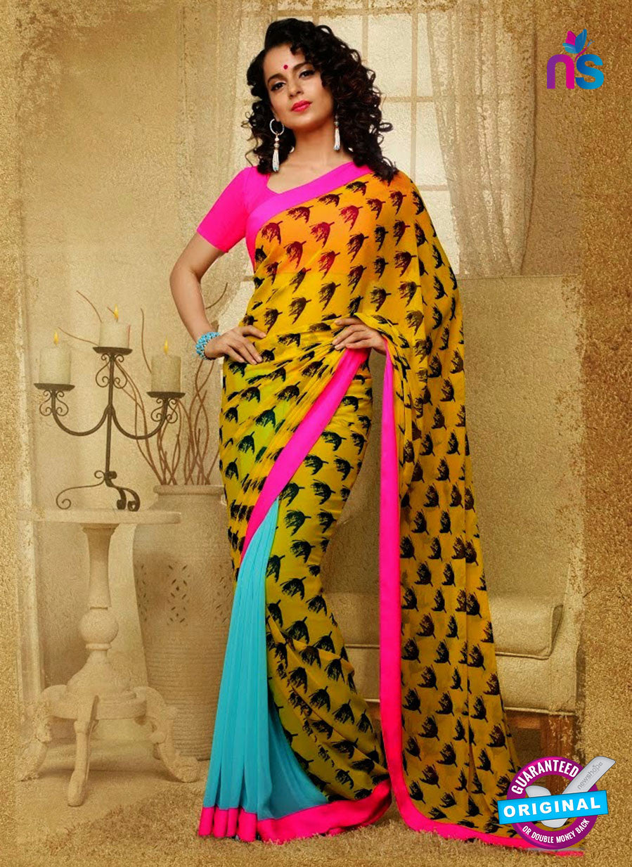 SC 13187 Yellow and Sea Blue Designer Saree